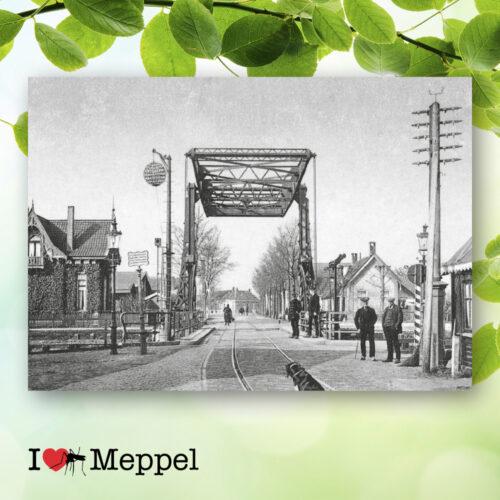 foto oud meppel galgenkampsbrug tramlijn trambaan poster meppel wanddecoratie meppel cadeau meppeler mug i love meppel